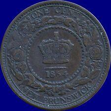 1864 New Brunswick 1 Cent Coin (Short 6)