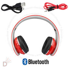 New Foldable Bluetooth Headset Stereo Super Bass Wireless Red  Headphone UKDC
