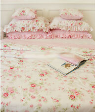 Shabby Chic Cottage Floral Quilt Duvet Cover Pillow Case Set White Pink King