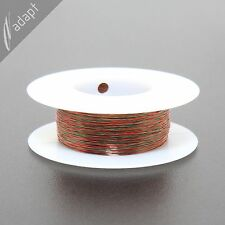 Twisted magnet wire, 2x#38, red/green, HPN, MW28, 250 ft, ~24TPF, 2/38, LED wire