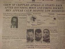 VINTAGE NEWSPAPER HEADLINE ~MOON MEN ASTRONAUTS CRIPPLED SPACE SHIP APOLLO 13~