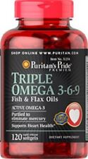 TRIPLE OMEGA 3-6-9 FISH & FLAX OILS DIETARY SUPPLEMENT 120 RAPID RELEASE SOFTGEL