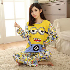Cute Ladies Despicable Me 2 Minion Long Top Trousers Set Pajamas women size XL