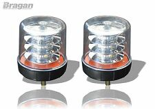 2x White Lens Amber LED Strobe Flashing Beacon Recovery Truck Bolt