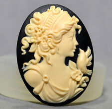 Lady Cameo SILICONE MOULD Cupcake polymer clay bird classical resin fimo mold