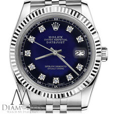 Womans Rolex 31mm Datejust Blue Vignette Color Dial with Diamond Accent SP Watch