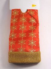 20 IN RED & Gold Snowflake lined MINI TABLE TREE SKIRT CHRISTMAS DECORATION