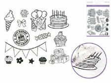 Forever in Time Clear Cling Rubber Stamp Happy Birthday Celebrate Set