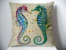 U.S. SELLER Seahorse print Home Decor Cushion Pillow Throw Cover Case