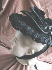 Vintage Antique Victorian Hat Black Velvet Faux Persian Lamb Calash Wire
