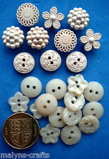 HEIRLOOM Craft Buttons Dress It Up Plastic Round Pearl Wedding Victorian Style