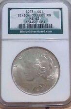 1923-P $1 Silver Peace Dollar-BINION-Collection-NGC MS 63 Pedigree