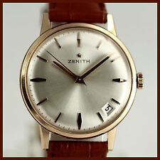 MINT VINTAGE ZENITH DATE 18K SOLID PINK GOLD MEN'S WATCH