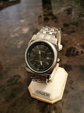 New, never worn Gruen men's watch, stainless band, date FREE SHIPPING