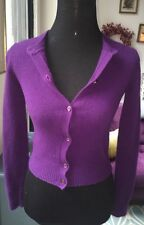 Prada Italy Royal Purple Cashmere Blend Cardigan Sz S
