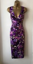 PHASE EIGHT PURPLE FLORAL TAILORED PENCIL PARTY RACES DRESS SIZE 8 IMMACULATE