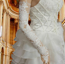 White Long Opera Lace Bridal Glove Fingerless Wedding Accessories Evening Gloves