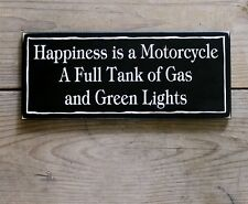 Happiness is a Motorcycle Wood Sign Motorcycle Biker Plaque Wall Decor