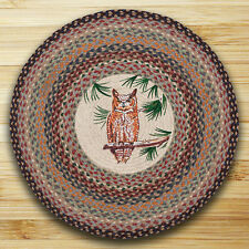 """GREAT HORNED OWL 100% Natural Braided Jute Rug, 27"""" Round, Capitol Earth Rugs"""