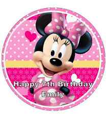 "Minnie Mouse Personalised Wafer Paper Topper For Large Cake 7.5"" Various Sizes"