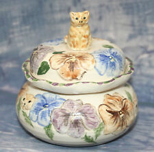 Art Pottery Jam Jar Lizpots of Lynton with Ginger Cat Finial & Pansy Decoration
