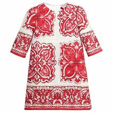 DOLCE & GABBANA Red Majolica Brocade Dress Robe Size 7/8 - Sold Out Everywhere