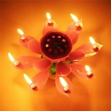 Flower Lotus Lights Music Musical Birthday Candle Cake Topper Gift Decor LM