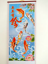 CHINESE CANE BAMBOO WALL HANGING FENG SHUI SCROLL KOI CARP FISH PICTURE 5-9