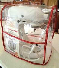 CLEAR MIXER COVER with pocket fits KitchenAid Tilt-Head - RED - 4.5-5 Qt.)