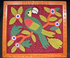 Framed Green Parrot Embroidered and Applique Mola from Panama