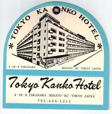 TOKYO KANKO Hotel old luggage tag label TOKYO Japan Asia