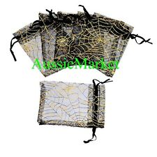20 x organza gift bags pouch favour gold party jewelry halloween spider web new