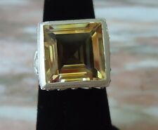 NEW LOTUS FLOWER Sterling Silver Ring Citrine Size 7.5 - 12.6 Grams