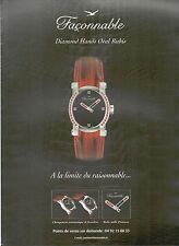▬► PUBLICITE ADVERTISING AD MONTRE FACONNABLE DIAMOND HANDS OVAL RUBIS 2003