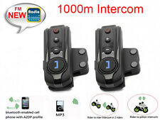 1000m 2Pcs BT Interphone Bluetooth Intercom Moto Bicyclette Casque Radio FM