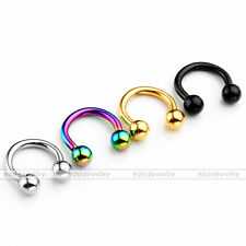 16G Horseshoe Round Hoop Eyebrow Lip Nose Septum Nipple Helix Tragus Bar Earring