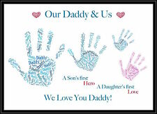 Daddy Dad Birthday Gift Present FOR HIM / HER Personalised Hand Print Xmas Nanny
