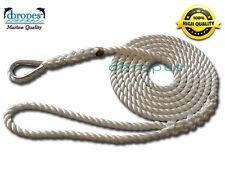 3 Strand Mooring Pendant 100% Nylon Rope 1/2 In X 8 Ft with Thimble TS 6400 Lbs