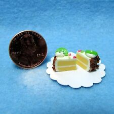 Dollhouse Miniature Dessert Vanilla Iced Cake with Fruit Topping & Sprinkles