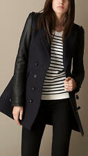Burberry Brit Leather Sleeve Coat Jacket Sizes 8 $1450 NEW 100% NO RETURNS