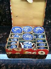 Vintage Complete Set Childs Blue Willow China Tea Set In Original Box Japan