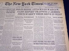 1939 SEPT 11 NEW YORK TIMES - POLES REPEL ATTACKS ON WARSAW - NAZIS - NT 450