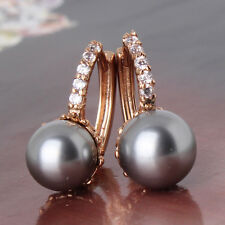 UNIQUE  CHIC 18k gold filled lady pearl sparking shinning hoop earring