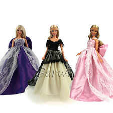 3 Pcs Princess Wedding Party Clothes Dress Wears Outfit Lot For Barbie Doll Gift