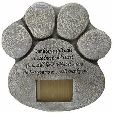 DOG CAT PET PAW PRINT PHOTO FRAME MEMORIAL GRAVE MARKER STONE TOMBSTONE PLAQUE