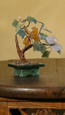 VINTAGE CHINESE GREEN JADE VASE AGATE,JADE ,PEKING GLASS IKEBANA BONSAI FLOWERS