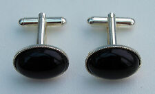 Black Onyx Cabochon Gemstone Cufflinks With Silver Plated Backs.