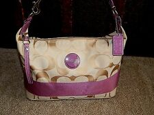 COACH Purse F15197 Hobo Signature Stripe Tote Handbag Khaki  Authentic Bag 2011