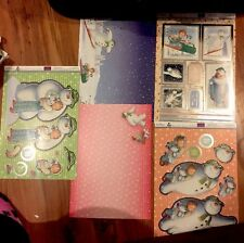christmas THE SNOWMAN Die Cut Card Kit Set Foiled Toppers Backing Card Decoupage