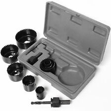 ★ 11 PZ Foro Sega Cutter Set ★ ROUND / Circular Drill Cutting caso KIT IN METALLO / LEGA / legno